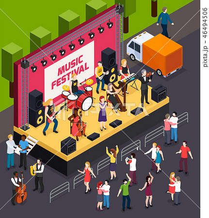 Music Festival Isometric Composition 46494506