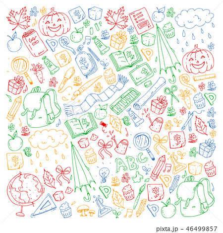Vector seamless pattern with school and education icons. 46499857