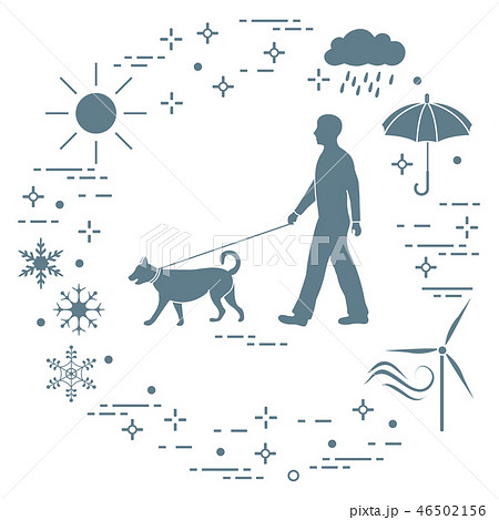 Man walking a dog on a leash in any weather 46502156