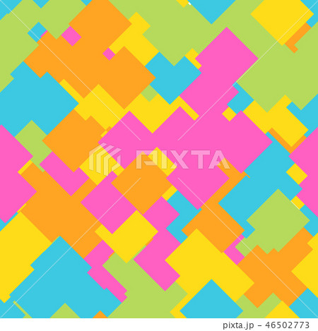 Seamless abstract geometric pattern of overlapping squares in random order. Funny, happy and 46502773