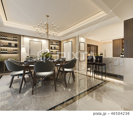 luxury wood kitchen with decoration 46504236