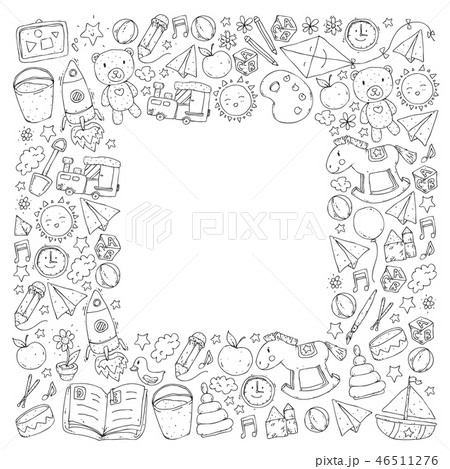 Kindergarten Vector seamless pattern with toys and items for education. 46511276