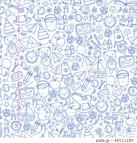 Kindergarten Vector seamless pattern with toys and items for education. 46511285