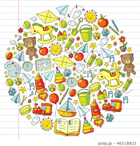 Kindergarten Vector pattern with toys and items for education. 46518823