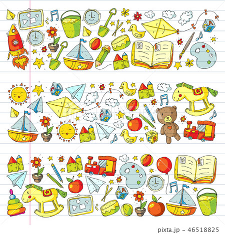 Kindergarten Vector pattern with toys and items for education. 46518825