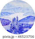 ノイシュバイシュタイン城 雪景色 手書きスケッチ ヨーロッパの古城 46523756