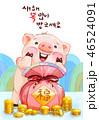 2019 豚 福袋のイラスト 46524091