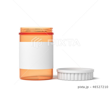 3d rendering of orange transparent plastic pills jar with blank label and lid open isolated on white 46527210