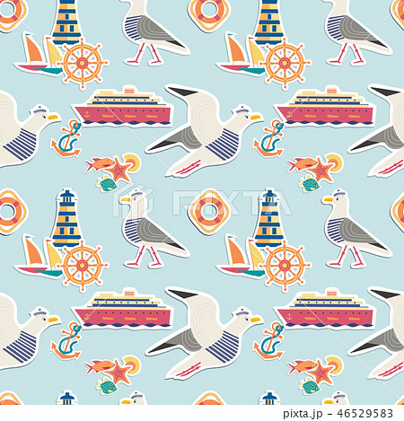 Hand drawn maritime stickers seamless pattern 46529583