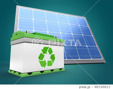 3d illustration of solar panel with car battery 46530021