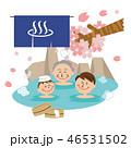 温泉 露天風呂 家族のイラスト 46531502