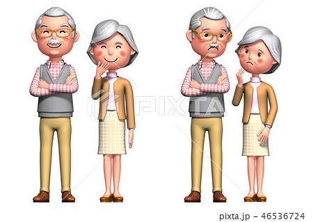 シニア夫婦表情全身2 46536724