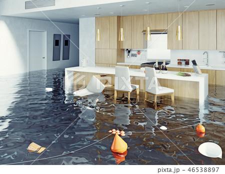 flooding kitchen interior. 46538897
