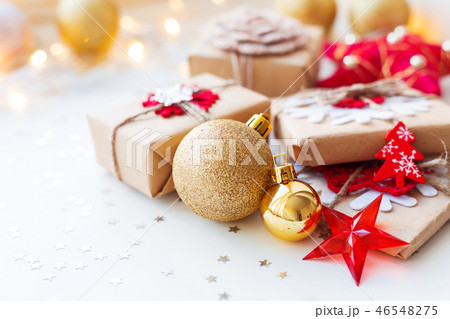 Christmas and New Year golden decorative balls 46548275