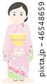女性 着物 和服のイラスト 46548659
