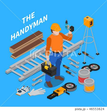 Handyman Tools Isometric Composition 46553624