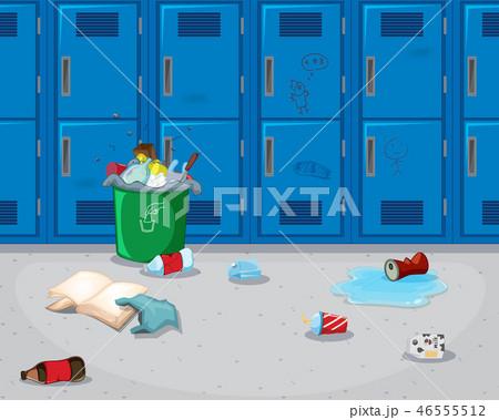 Dirty school hallway background 46555512