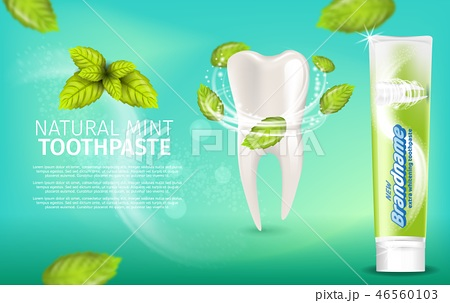 Realistic Illustration Natural Mint Toothpaste 46560103