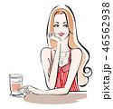 カフェで一息 赤の夏服 46562938