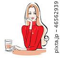 カフェで一息 赤セーター 46562939