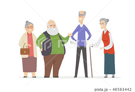 Cheerful senior people - set of cartoon characters 46563442