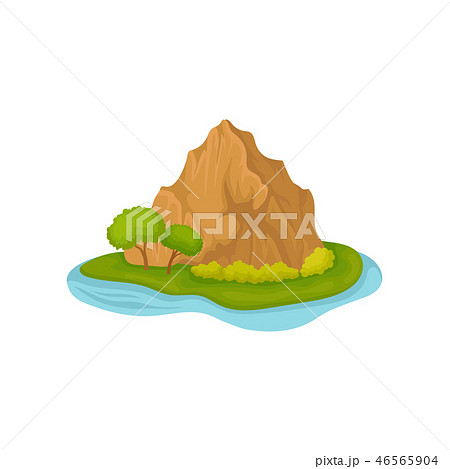 Brown rocky mountain and green plants. Small island surrounded by water. Natural landscape. Flat 46565904