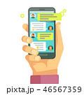 スマートフォン チャット メッセージのイラスト 46567359