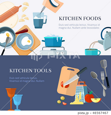 Kitchen utensils, cooking, home made food, kitchenware vector banners set 46567467