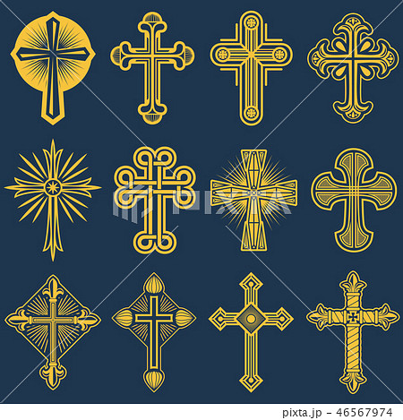 Gothic catholic cross vector icons, catholicism symbol 46567974