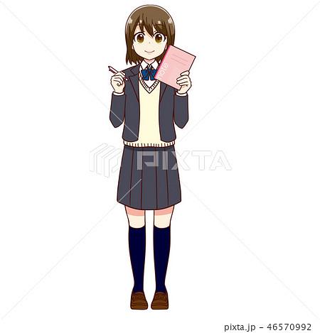 女子高生 勉強 受験 学習 ノート ペン 46570992