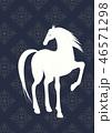 馬 午 白馬のイラスト 46571298