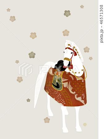飾り馬 梅の花 46571308