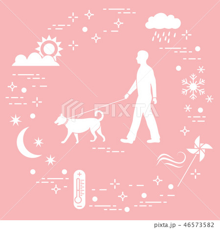Man walking a dog on a leash in any weather 46573582