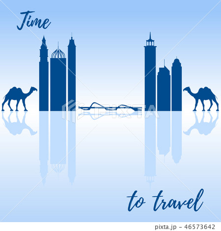Famous skyscrapers of the world, bridge and camels 46573642