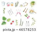 インテリア キッチン小物 手書き水彩イラストセット 46578253