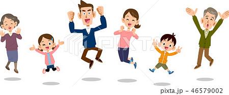 ジャンプする家族 三世代 重なりなし 46579002