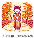 七五三 女の子 紅葉のイラスト 46580320