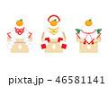 鏡餅 縁起物 年賀状素材のイラスト 46581141