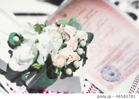 Wonderful luxury wedding bouquet of different flowers 46583781