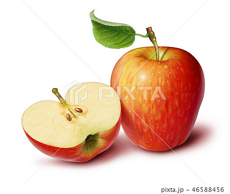 Red Apple and slice with leaf 46588456