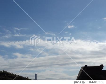 稲毛海岸の青空と白い雲 46601995