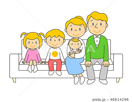 46614296 ソファーでくつろぐ外国人家族 イラスト みやもとかずみ