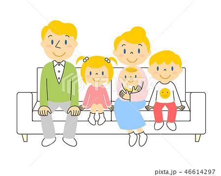46614297 ソファーでくつろぐ外国人家族 イラスト みやもとかずみ