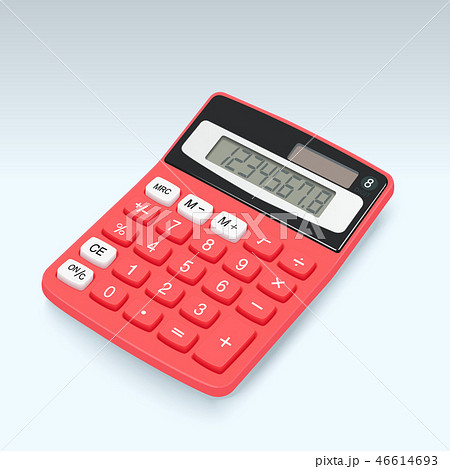 Realistic red calculator vector icon isolated 46614693
