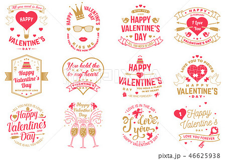 Set of Happy Valentines Day sign. Stamp, card with key, bird, amur, arrow, heart. Vector. Vintage 46625938