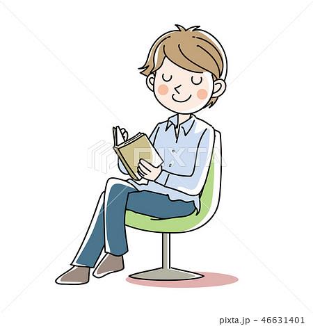 座って本を読む・男性 46631401