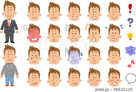 茶髪の若い男性の20種類の表情と感情を表す記号 46632120