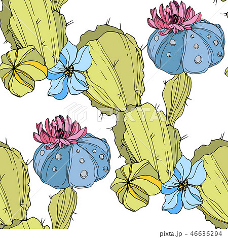 Vector Cacti flower. Green and blue engraved ink art. Seamless background pattern. Fabric wallpaper 46636294