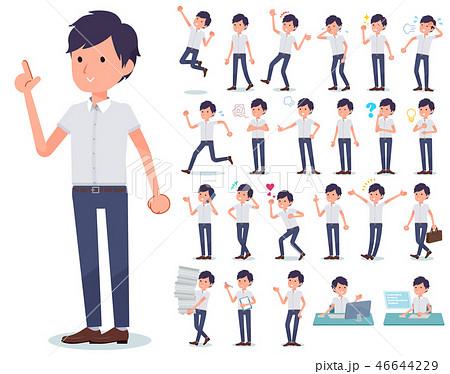 flat type White short sleeved men_emotion 46644229