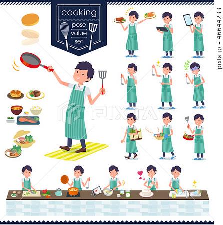 flat type White short sleeved men_cooking 46644233